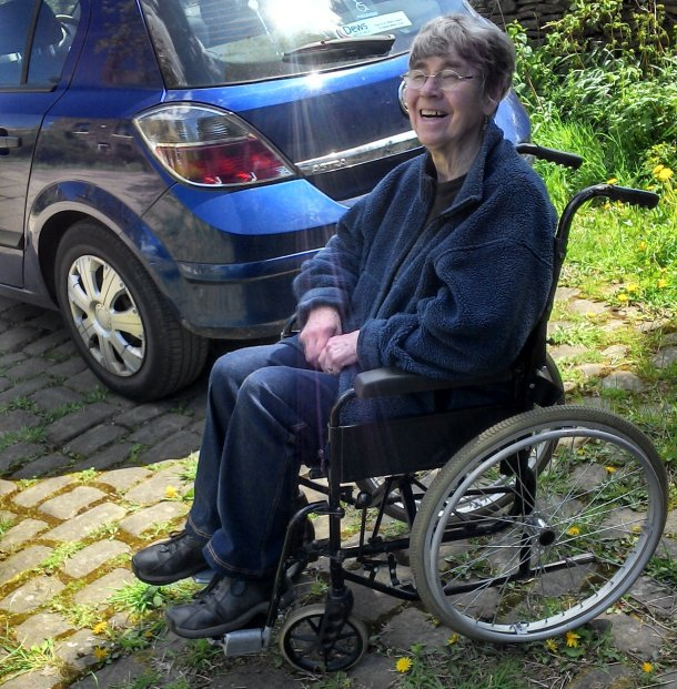 Gloria on wheelchair