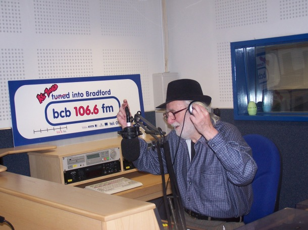 Karl in the studios of BCB radio, Bradford