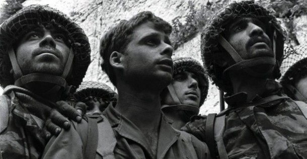 Zion Karasanti, Yitzhak Yifat and Haim Oshri, IDF paratroopers at Jerusalem's Western Wall shortly after its capture. (David Rubinger / Knesset website)