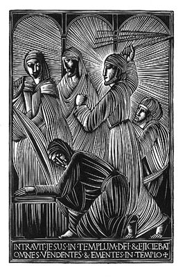 Eric Gill: Jesus expels the moneychangers from the Temple.